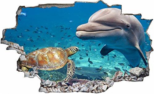 DesFoli Delfin Schildkröte 3D Look Wandtattoo 70 x 115 cm Wanddurchbruch Wandbild Sticker Aufkleber C171