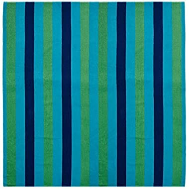 Cotton Craft - Beach Towel for Two 58x68 - Cabana Stripe Navy Green Turquoise - Beach Blanket - 100% Pure Ringspun Cotton - 450 GSM - Oversized Jacquard Woven Velour Beach Towel - Thick Luxurious Pile