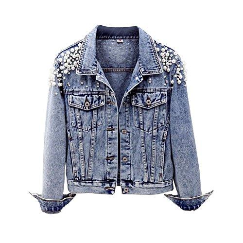 CYSTYLE 2018 Damen Jeansjacke Übergangsjacke Leichte Jacke Denim Casual mit Perle und Dragonfly (Stil 1, EU S=Asia L)