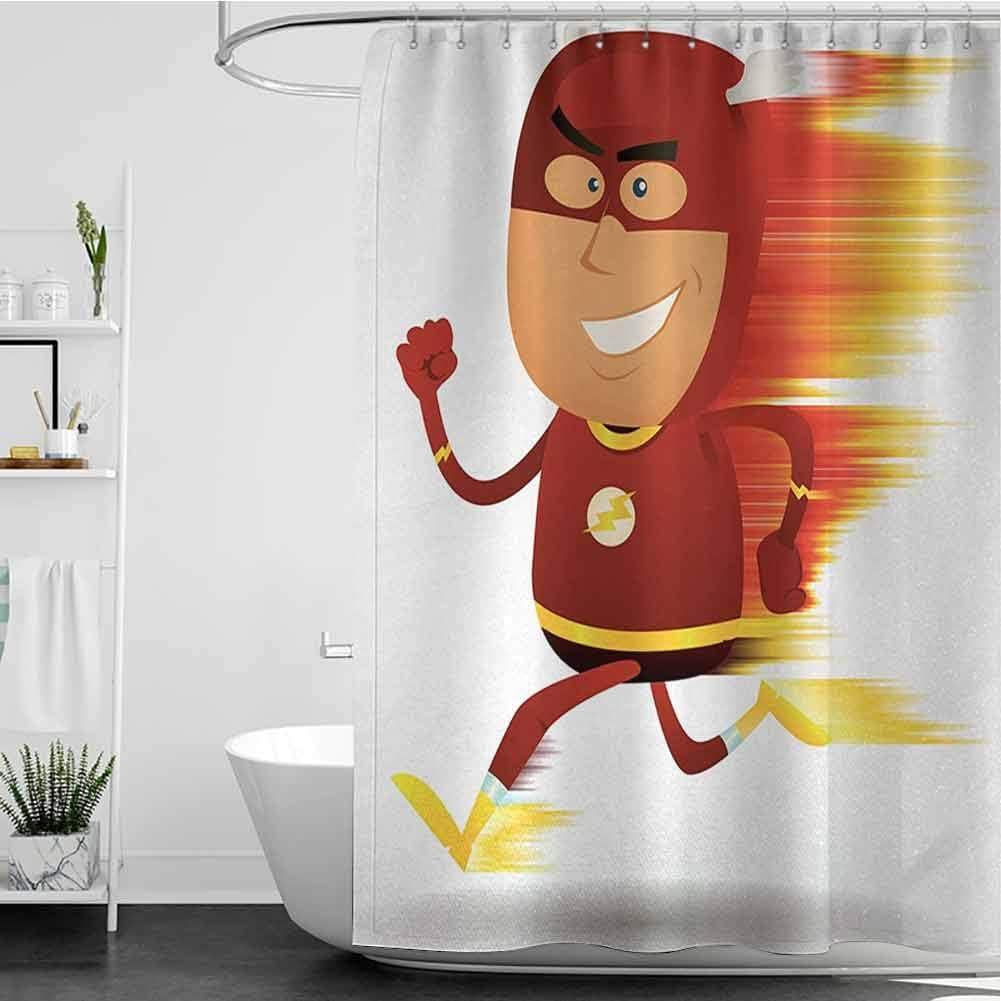 StarsART Shower Curtains Omaha Mall Kids Boys Man with Bolt Cape Lightning Max 83% OFF