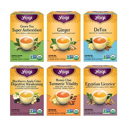 Yogi Tea - Digestion and Detox Tea Variety Pack Sampler (6 Pack) - 96 Tea Bags