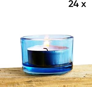 Chive - Cobalt Blue Glass Tealight Candle Holder, 24 Bulk Pack Set for Weddings, Parties, Events and Home Decor Tea Light
