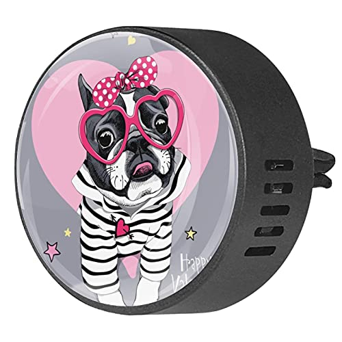 2 Packs Car Diffuser With Clip Air Fresheners,French bulldog in striped cardigan,Aromatherapy Essential Oil Portable for bedroom