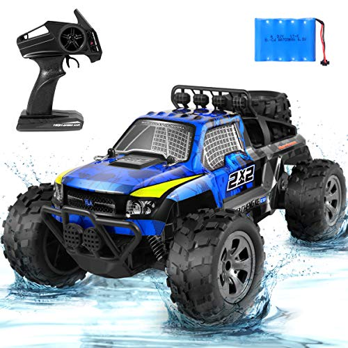 RC Cars, 2.4Ghz High Speed Off-Road Remote Vehicle 1:18 Scale RC Stunt Car, 20KM/H Monster Truck Buggy Crawler Radio Controlled Electronic Toy Car Best Gift for Kids & Adult