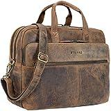 STILORD 'William' Businesstasche Leder groß XL Lehrertasche Aktentasche 15,6 Zoll Laptoptasche Bürotasche Ledertasche Vintage Umhängetasche Echtleder, Farbe:mittel - braun
