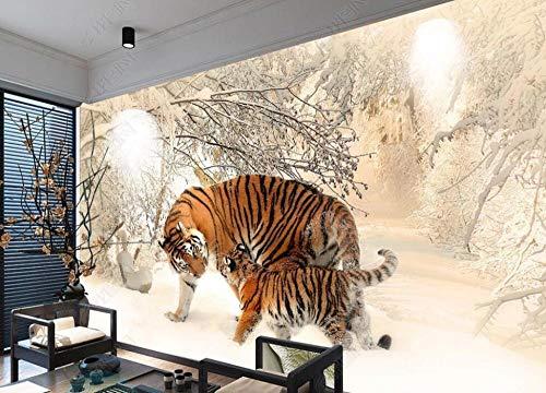 Fotomurali Murale 3D Madre E Figlio Tiger Woods Snow Carta Da Parati Murale Muro Fotomurali 3D Camera da letto Wallpaper Home Decor 250cmx175cm