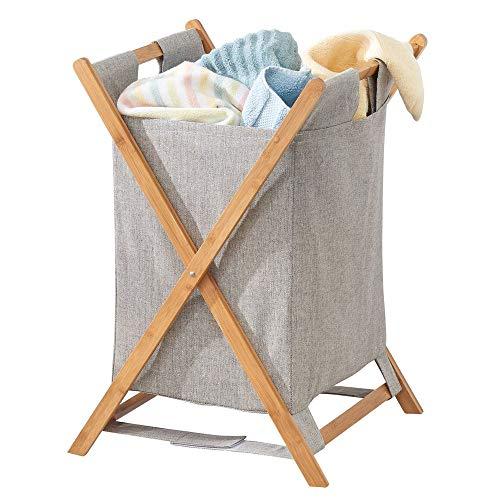 mDesign Faltbarer Wäschekorb – tragbare Wäschebox fürs Badezimmer – Wäschetruhe aus Bambus und Polyester mit herausnehmbarem Wäschesack – bambusfarben