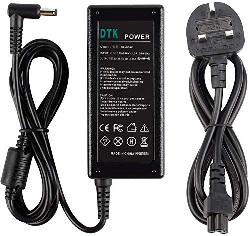 DTK 19.5V 3.34A 65W Laptop Charger for Dell Notebook Computer PC Power Cord Supply Lead AC Adapter Inspiron XPS Vostro Latitude Connector:【4.5 x 3.0mm】