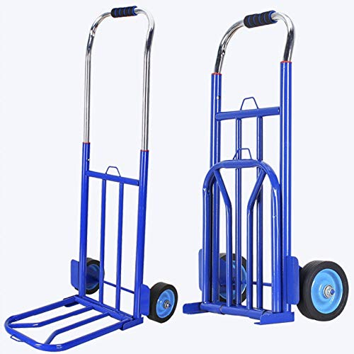 Stainless Steel Multi-Functional Moving Trolley With Anti Puncture Silent Wheel and 100 kg Capacity,Blue Sack Truck for Luggage, Travel, Auto, Moving And Office Use