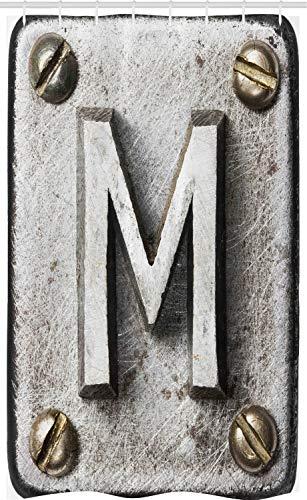 ABAKUHAUS Buchstabe M Schmaler Duschvorhang, Stahlsatz Grunge, Badezimmer Deko Set aus Stoff mit Haken, 120 x 180 cm, Hellgrau Sepia