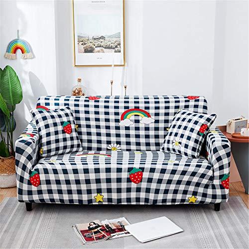 Funda para sofá de tela elástica elástica, color negro, a cuadros, con diseño de fresa, color negro