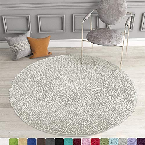 MAYSHINE Round Bath Mat Non-Slip Chenille 3 Feet Shaggy Bathroom Rugs Extra Soft and Absorbent Perfect Plush Carpet for Living Room Bedroom, Machine Wash/Dry-Light Gray
