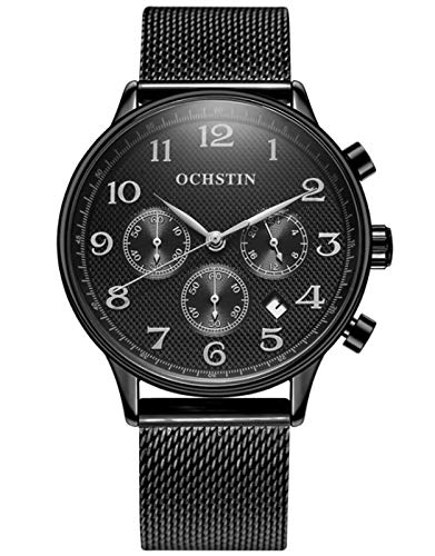 MLHXHX Reloj de hombre de moda de acero inoxidable correa de malla reloj multifuncional impermeable reloj de negocios negro