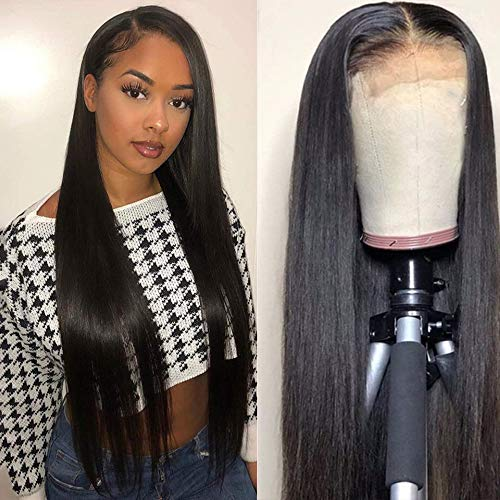 Sdamey 4X4 Lace Closure Wigs Silky Brazilian Virgin Straight Lace Front Wigs Human Hair Pre Plucked with Baby Hair 150% Density Human Hair Wigs For Black Women(14 Inch, 4X4 straight wig)