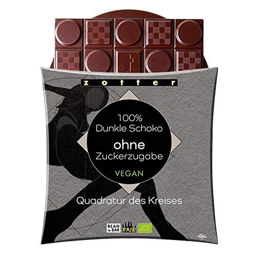 Zotter Bio 100% Dunkle Schokolade ohne Zucker Quadratur des Kreises Vegan 70g