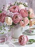 5D DIY diamante pintura jarrón de flores taladro redondo completo mosaico bordado Rosa diamantes de imitación imágenes decoración A9 50x60cm
