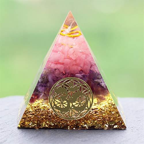 TYUTYU Pirámide de Cuarzo Rosa con símbolo de Cristal Domicilio de la Oficina Deco (Size : 8CM)