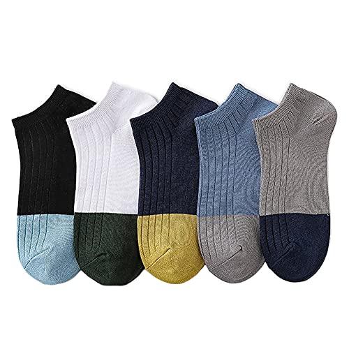SHHMA Calcetines para Hombre, 5 Pares de Calcetines de Tubo Corto, Calcetines Finos de Corte bajo, con Boca Poco Profunda, para Barco, de Moda y versátiles