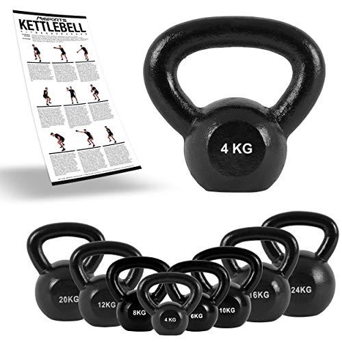 MSPORTS Kettlebell Professional Iron 2 – 30 kg inkl. Übungsposter Kugelhantel (4 kg)