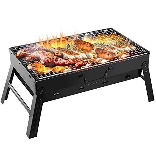 Portable Charcoal Grill, TeqHome 17x10x11 Inch Foldable Mini Barbecue Grill, LightWeight Small BBQ Grill for Outdoor Backyard Camping Picnic Beach Cooking