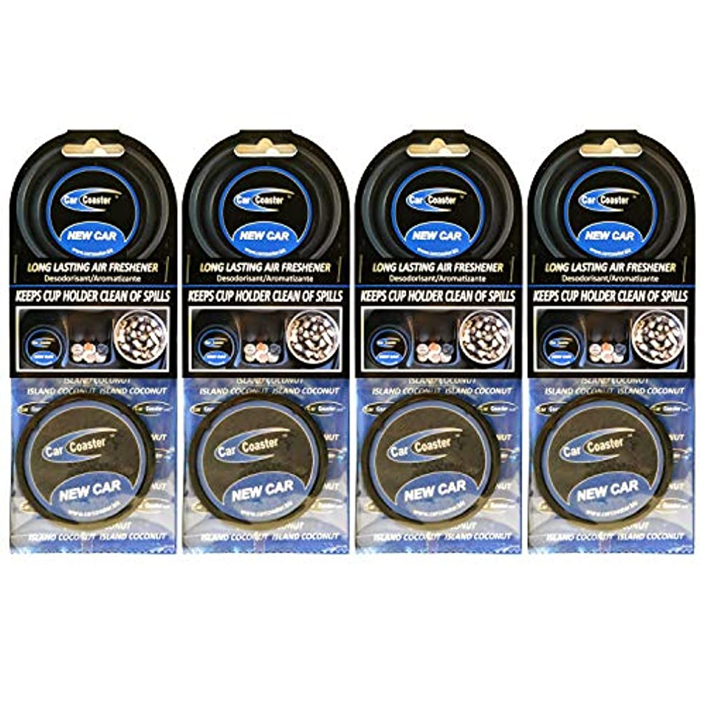 Aroma Chips New Car Scent (4 Pack) The Original Car Coaster Air Freshener Long Lasting Fragrance, Odor Removing