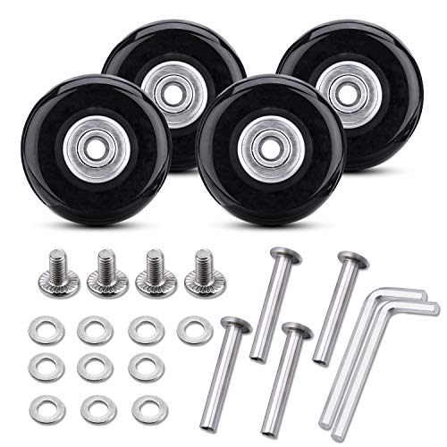 OCGIG 2 Pairs 50x18mm Luggage Suitcase Replacement Wheels with Axles Wrench Repair Bearings Tool