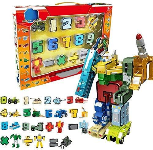 Yangers Alfabeto Numeri trasformatori Robot Matematica Giocattoli educativi Costruzione di edifici Puzzle Veicolo Modello Militare carro Armato Missile Elicottero da Combattimento
