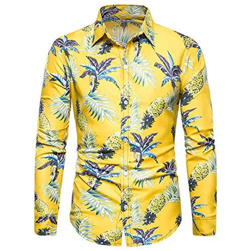 Herren Funky Floral Checked Shirt Lässiges Langarmhemd Button Langarmhemden Printed T-Shirt Kariertes Freizeithemd,B,XXL