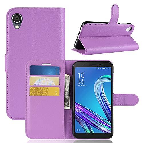 Handytaschen Litchi Texture Horizontal Flip Leder Tasche for Asus ZenFone Live (L1) ZA550KL, mit Geldbörse & Kartenhalter (Schwarz) (Farbe : Lila)