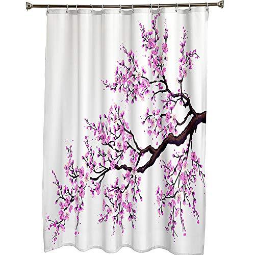 Duschvorhang Badewanne Rosa Pflaume Duschvorhang Wasserdicht/Antischimmel Badewanne Vorhang mit 12 Haken, 150CM X 180CM