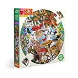 eeBoo Piece and Love Mushrooms and Butterflies 500 Piece Round Circle Jigsaw Puzzle