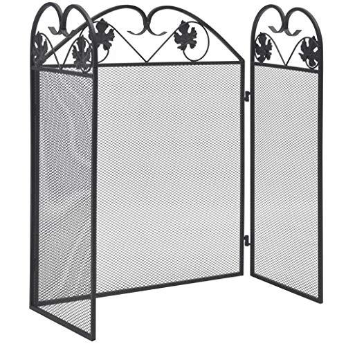 Galapara Clásico Pantalla Chimenea 3 Paneles Hierro Plegable Panacea Protector Fuego Salvachispas Metal, Biombo Diseño para Niños Barrera de Seguridad para Niños 102x61cm Negro