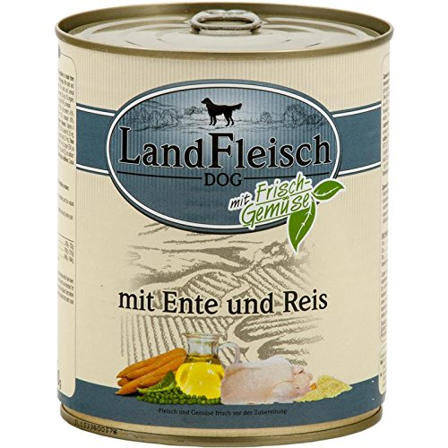 LandFleisch Pur Ente & Reis | 6x 800g Hundenassfutter
