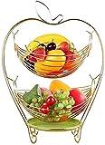 Fruta de los cuencos de oro multifuncional del hierro de la placa vegetal de la placa para las verduras, artículos del hogar, artículos de tocador 2 niveles