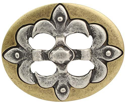 Brazil Lederwaren Gürtelschnalle Lilie bicolor 4,0 cm   Buckle Wechselschließe Gürtelschließe 40mm Massiv   LARP- und Mittelalter-Outfit   bicolor g/s