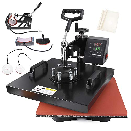 Seeutek Heat Press 15x15 inch Heat Press 5 in 1 Machine 360-Degree Swing Away Digital Multifunction...