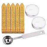 5 Piezas Lacres de Manuscrito (Mechas Excluidas) con Cuchara y 2 Piezas de Velas para Sobres Postal Cartas (Dorado)