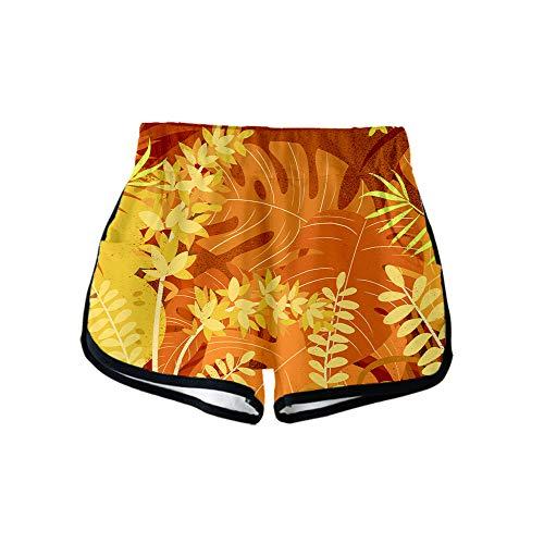 URVIP Damen Blatt Shorts 3D Druck Kurze Hose Badehose Freizeithose Jogginghose Sporthose Trainingshose Jogger Sweatpants Blatt-09 XL