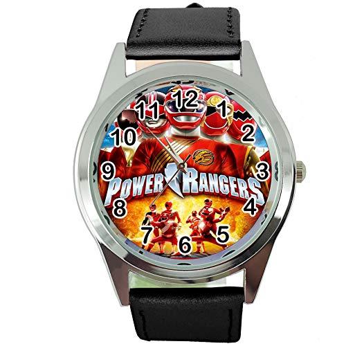 Reloj redondo de cuarzo con correa de piel negra para niños