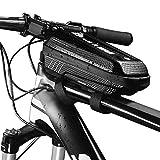 Lixada Wild Man E5 PU Bolsa de Cuadro de Tubo Superior de Bicicleta a Prueba de Lluvia Impermeable Paquete de Tubo con Diseño de Doble Cremallera MTB (Negro-A)