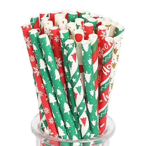 LAITER 200 Stück 8 Designs Weihnachtsstrohhalme biologisch abbaubar Trinkhalme Papier-Strohhalme Streifen Punkt Weihnachtsbaum für Weihnachts Partyzubehör Rot Grün Weiß