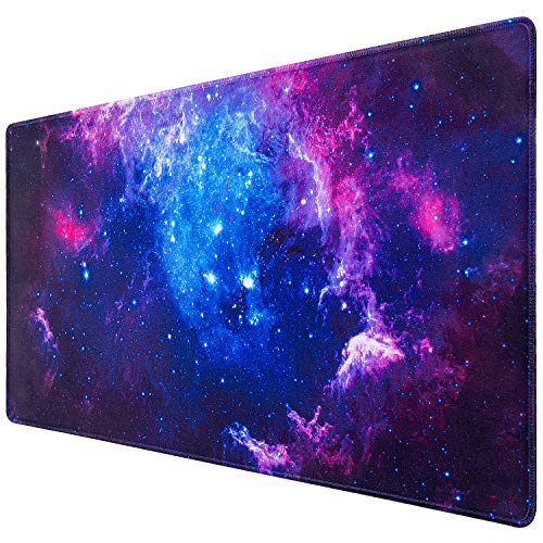 Gaming Mouse Pad, Canjoy Extended Mouse Pad, XXL Large Big Computer Keyboard Mouse Mat Desk Pad with Non-Slip Base and Stitched Edge for Home Office Gaming Work, 31.5x15.7x0.12inch, Galaxy Print