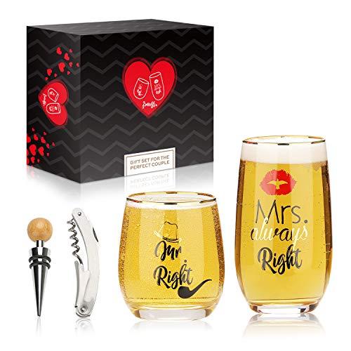 Mr Right y Mrs. Always Right Cerveza Copa de vino Parejas Tazas Regalos con abridor de botellas, tapón de vino para compromiso Boda Despedida de soltera Novios para recién casados Aniversario