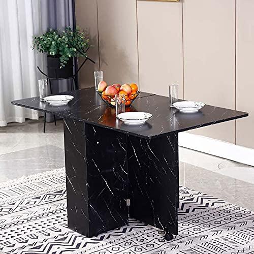 Liu Juego de mesa de comedor de madera plegable de mármol negro versátil con 2 ruedas y estantes de almacenamiento, ahorro de espacio mesa de cocina comedor
