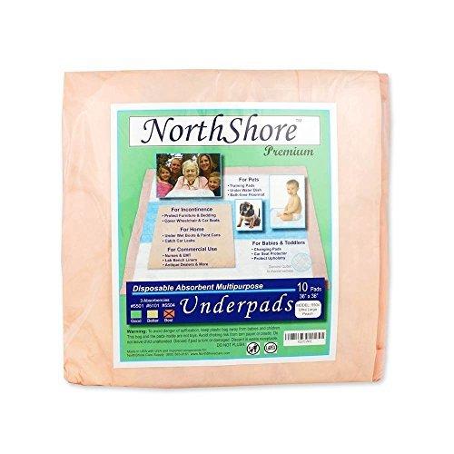 NorthShore Premium, 36 x 36, 65 oz, Peach Super-Absorbent Underpads (Chux), Ultra Large, Case/100 (10/10s)
