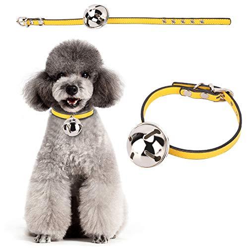HEEPDD Hond Kraag, Verstelbare PU Lederen Huisdier Kraag Kleurrijke Ketting met Bell Collars Accessoire voor Dagelijks Feest Foto, Geel