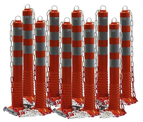 UvV 10 Stück Absperrpfosten UVTP2013 flexibel 70cm Kettenpfosten reflektierend mit praktischer Absperrkette flexibler Sperrpfosten mit stabilem Standfuß inkl. Befestigung orange (10)