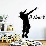 Adhesivo de pared de vinilo personalizado Nombre personalizado Battle Royale Gamer Calcomanía Dormitorio de los niños sala de estar Sala de juegos Dance Studio decoración del hogar arte mural póster
