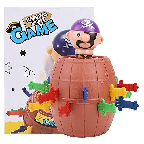 Bicaquu Pirate Desktop-Spiel, Springen Pirate Barrel Toy Tricky Toy Pirate Barrel Game, Dauerhafte Pirate Barrel Tricky Toy für Home Adult Kids School Party Game