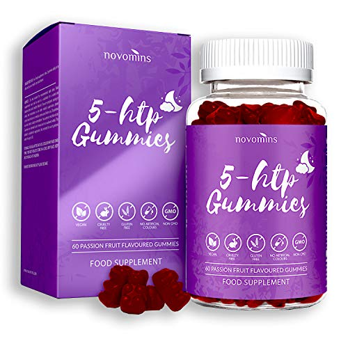 5 HTP Gummies - 5 HTP Maximum 5 HTP Supplement with L-Theanine, Magnesium, Vitamin B12, Glycine - 60 Passionfruit Natural 5 HTP Gummies Alternative to 5HTP Capsules Pills - Made in UK by Novomins